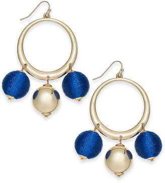 "INC International Concepts I.N.C. Extra Large 2.5"" Gold-Tone Wrapped Ball Drop Hoop Earrings, Created for Macy's"