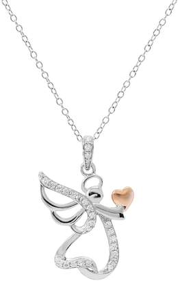 Hallmark Two Tone Sterling Silver Cubic Zirconia Angel Pendant