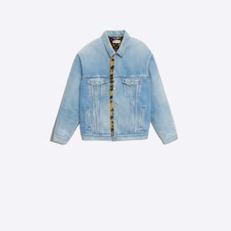 Balenciaga Classic denim jacket with faux fur lining
