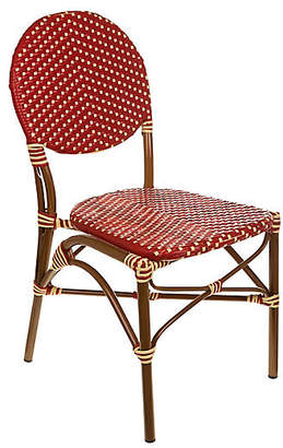 Tiab Inc. Café Outdoor Bistro Side Chair - Red/Cream