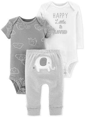 Carter's Baby Boys or Girls 3-Pc. Cotton Bodysuits & Pants Set