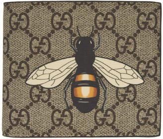 Gucci Beige GG Supreme Bee Wallet