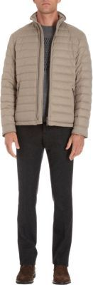 Armani Collezioni Quilted Zip Front Mock Neck Jacket