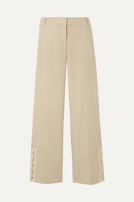 Veronica Beard Martin Cropped Grosgrain-trimmed Linen-blend Flared Pants - Beige