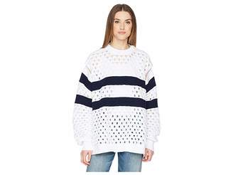 Sonia Rykiel Sailor Stripe Knit Convertible Sleeve Sweater Women's Sweater