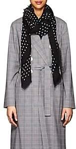 Saint Laurent Women's Dot-Print Wool Gauze Scarf - Black