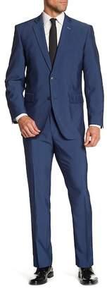 Perry Ellis Solid Medium Blue Two Button Notch Lapel Slim Fit Suit