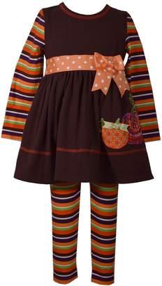 Bonnie Jean Baby Girl Pumpkin Dress & Striped Leggings Set