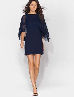 Halston Cape Sleeve Floral Embroidered Dress