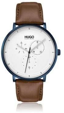HUGO Boss Three-hand watch textured leather strap One Size Assorted-Pre-Pack