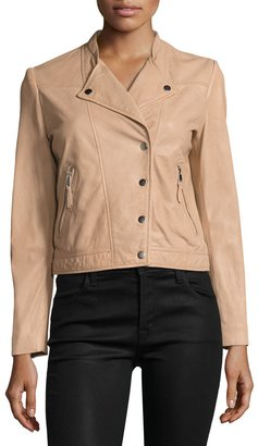 Bagatelle Snap-Front Cropped Moto Jacket, Nude $269 thestylecure.com