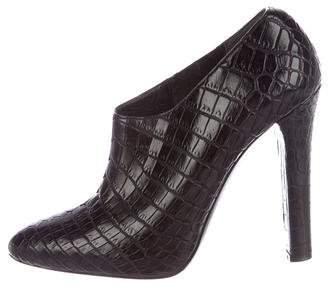 Ralph Lauren Crocodile Almond-Toe Booties