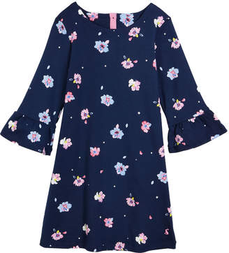 Joules Christina Floral Ruffle-Cuffs Dress, Size 3-10