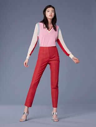 Diane von Furstenberg Long-Sleeve V-Neck Color Block Cotton Pull Over