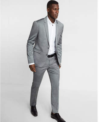Express extra slim gray wool blend oxford suit pant