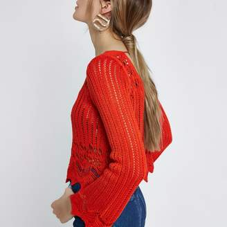 River Island Womens Red crotchet knit tassel crop top