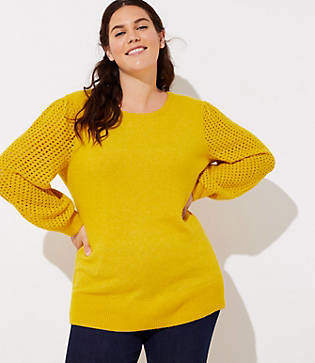 LOFT Plus Open Stitched Sleeve Sweater