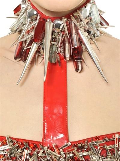 Versace Studded Vinyl Viscose Jersey Dress