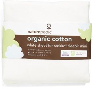 Naturepedic 300 Thread Count Organic Cotton Oval Crib Sheet For Stokke Sleepi Mini $23 thestylecure.com