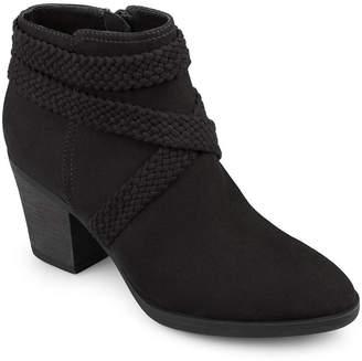 Journee Collection Womens Seneca Booties Stacked Heel Zip