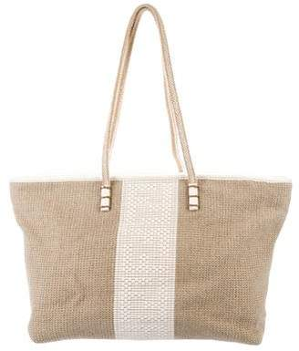Fendi Leather-Trimmed Woven Roll Tote