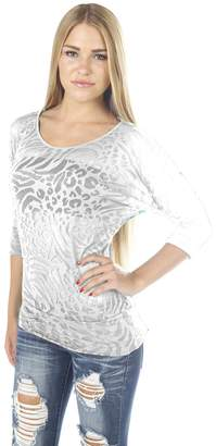 Hollywood Star Fashion Semi Sheer Burnout Dolman Sleeve Bottom Band Leopard Design Top Blouse 3/4 Sleeves Bat Design