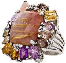 Stephen Dweck Multi-Stone Cluster Ring, Light Pink