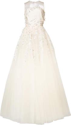 Oscar de la Renta appliquéd embroidered gown