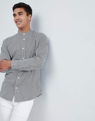 Selected Vertical Stripe Shirt With Mandarin Collar In Slim Ft