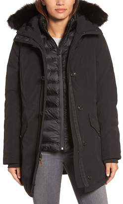 UGG Waterproof Down Parka with Genuine Shearling Trim