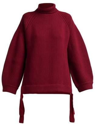 Ellery Wallerian Oversized Wool Blend Roll Neck Sweater - Womens - Burgundy