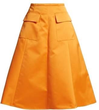 Rochas A Line Duchess Satin Skirt - Womens - Orange