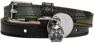 Alexander McQueen Green Camo Skull Charm Double Wrap Bracelet $245 thestylecure.com