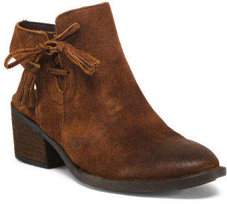 Leather Open Back Booties