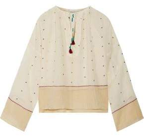 Mes Demoiselles Orpheo Embroidered Cotton-Gauze Blouse