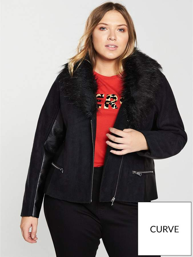 V By Very Curve PU Panel Coat With Faux Fur Collar - Black