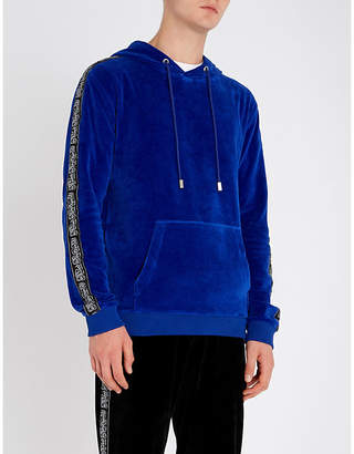 Blood Brother Logo tape velour hoody