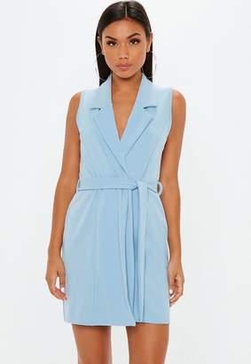 Missguided Powder Blue Sleeveless Blazer Dress