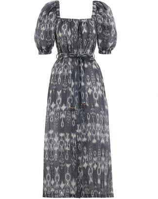 Zimmermann Tali Ikat Square Neck Dress