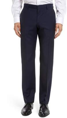 BOSS Genesis Flat Front Trim Fit Solid Wool Trousers