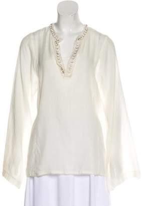 Lanvin Embellished Long Sleeve Blouse