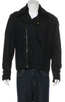 CNC Costume National Wool-Blend Sherpa-Trimmed Jacket