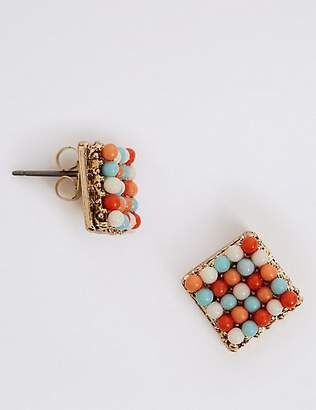 M&S Collection Beaded Mosaic Tile Studs Earrings