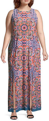 London Times Sleeveless Geometric Maxi Dress - Plus