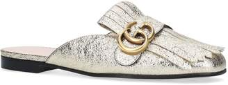 Gucci Metallic Marmont Slippers