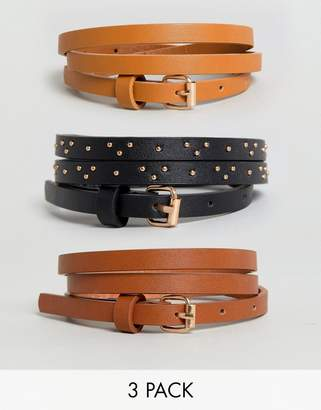 New Look 3-Pack Stud Skinny Belts