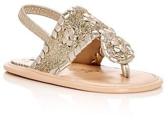 Jack Rogers Girls' Baby Jacks Leather Glitter Slingback Sandals - Baby