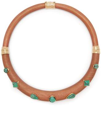 Aurelie Bidermann Wood and turquoise-stone necklace
