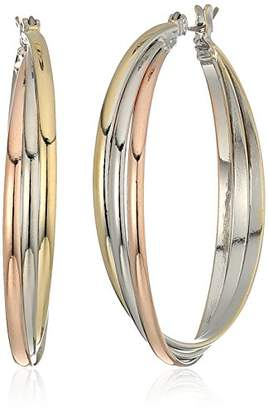 Kenneth Cole New York Kenneth Cole New Women's Trinity Rings Tri-Tone Large Twisted Hoop Earrings