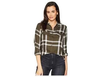 ALEXANDER JORDAN Long Sleeve 2 Flap Pocket Plald Button Down Shirt Women's Clothing